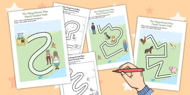 The Gingerbread Man Pencil Control Path Worksheets - control