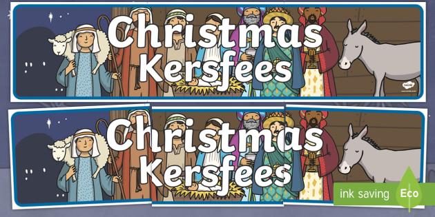 Christmas Display Banner English/Afrikaans - Christmas Display Banner (Christmas) - Christmas, xmas, display banner, Santa, Father Christmas, tre
