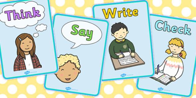Think Say Write Check A4 Visual Aids - visual aid, think, say, write
