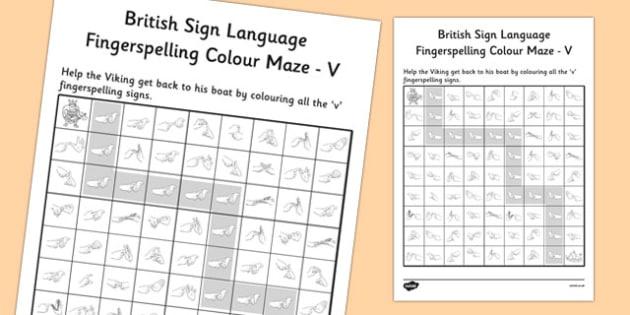 British Sign Language Fingerspelling Colour Maze V - colour, maze