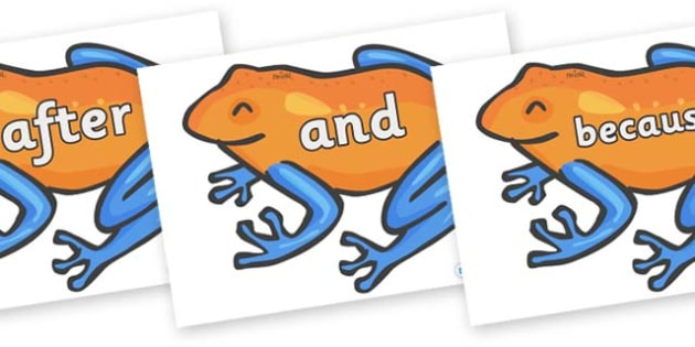 Connectives on Tree Frogs - Connectives, VCOP, connective resources, connectives display words, connective displays