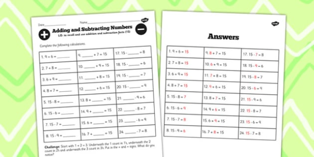 Number Facts to 15 Worksheet - number, facts, 15, worksheet, math