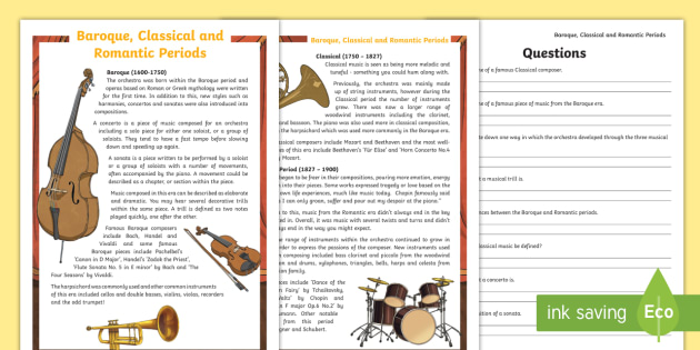 Dyslexic baroque classical and romantic periods reading baroque classical and romantic periods reading comprehension activity ibookread Read Online