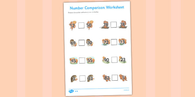 The Tale of Squirrel Nutkin Number Comparison Worksheets - squirrel nutkin