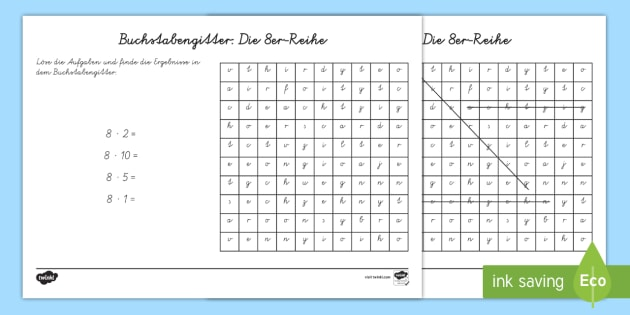 Buchstabengitter: Die 8er Reihe Arbeitsblatt - Buchstabengitter