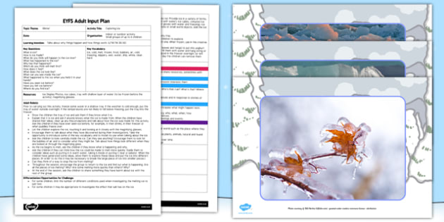 Exploring Ice EYFS Adult Input Plan and Resource Pack - adult led, ice, lesson plan