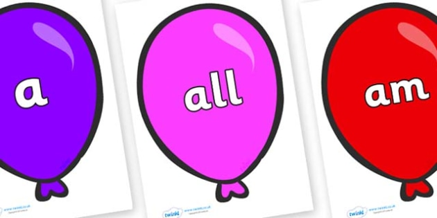 Foundation Stage 2 Keywords on Party Balloons - FS2, CLL, keywords, Communication language and literacy,  Display, Key words, high frequency words, foundation stage literacy, DfES Letters and Sounds, Letters and Sounds, spelling