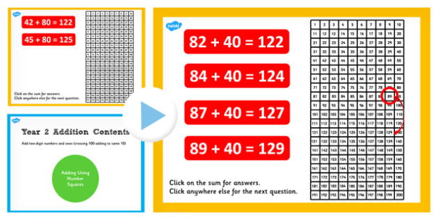 Year 2 Adding 2 Digit Numbers and Tens to Same 10s Number Squares