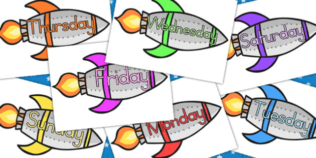 Days Of The Week On Rockets - australia, days, week, rockets