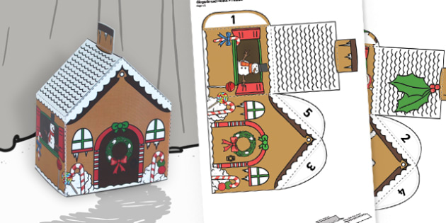 Christmas Gingerbread House Printables.Gingerbread House Paper Model Traditional Tales Craft