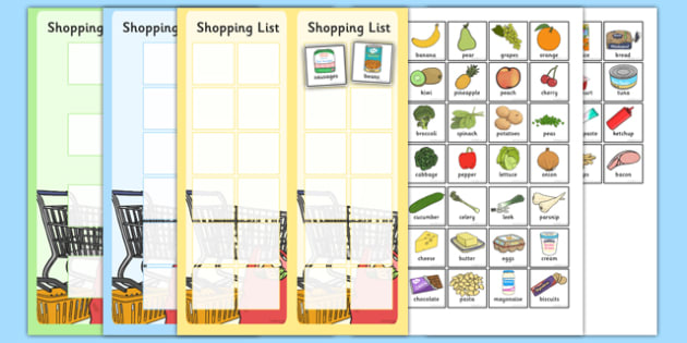 Shopping Lists And Food Cards  Shopping List Shopping Shop