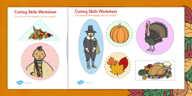 Thanksgiving Cutting Skills Worksheet - worksheets, cut, skill