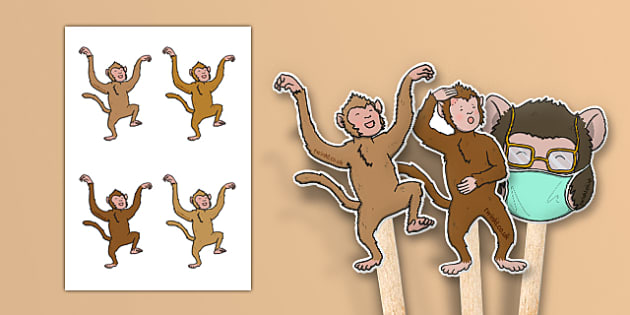 Five Little Monkeys Jumping on the Bed Stick Puppets - counting, 5, monkey, nursery rhyme, song, singing, early years, eyfs, ks1, foundation, reception, nursery, role play, acting