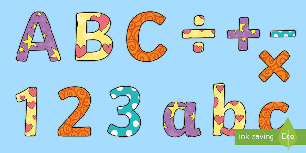 Funky Patterned Display Letters and Numbers Pack 1 - funky, patterned, display