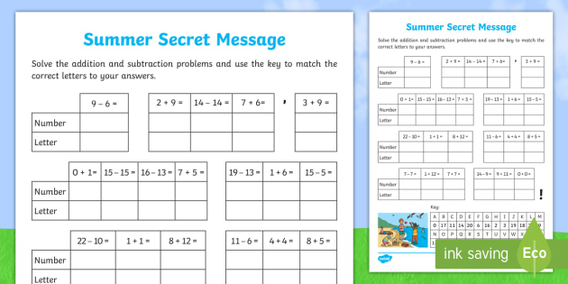 addition and subtraction summer secret message worksheet. Black Bedroom Furniture Sets. Home Design Ideas