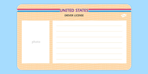 US Blank Driving License Template