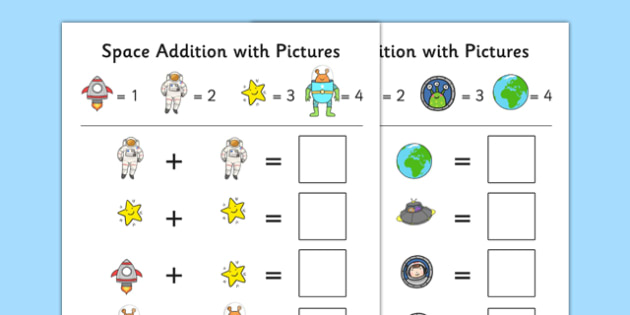 Space Themed Addition with Pictures Activity Sheet Pack - space, themed, addition, pictures, activity, sheets, worksheet