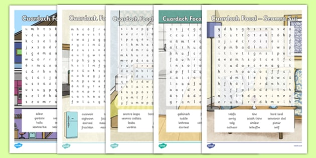 The House/Home Word Search Gaeilge - mo theach, sa braille, activity, sheets, spellings