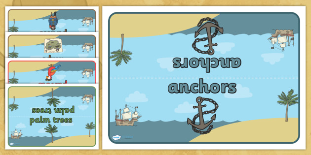 Editable Group Table Signs (Pirates) - Group signs, group labels, group table signs, table sign, teaching groups, class group, class groups, table label, pirate, pirates, treasure, ship, jolly roger, gold, coins, ship, island, ocean