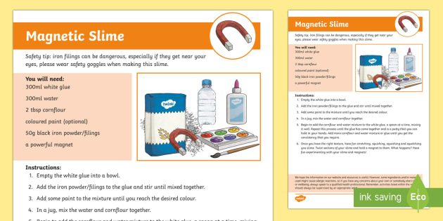 picture about Slime Science Printable Report named Magnetic Slime Craft Recommendations - rainy working day recreation