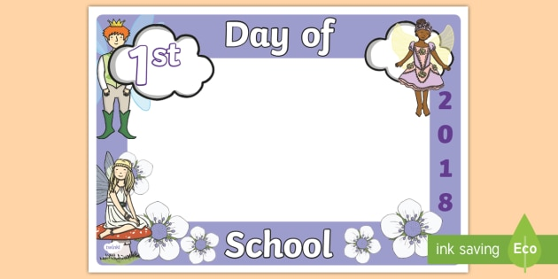 First Day of School 2018 Fairy Photo Booth Frame Cut-Outs - Back
