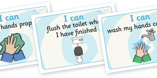I Can Toilet Signs Home - I can, toilet, using the toilet, home, sign, signs, dry, flush the toilet, wash hands, washing, flushing, how to use the toiled, help, aid, guide, at home