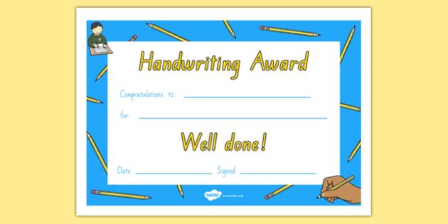 Handwriting Certificate NZ Font - nz, new zealand, Handwriting award, Literacy award, good handwriting, reward, award, certificate, medal, rewards, school reward