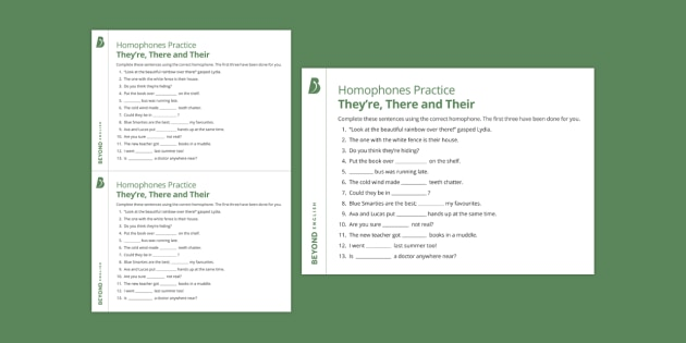 Homophones Practice They're, There and Their Worksheet