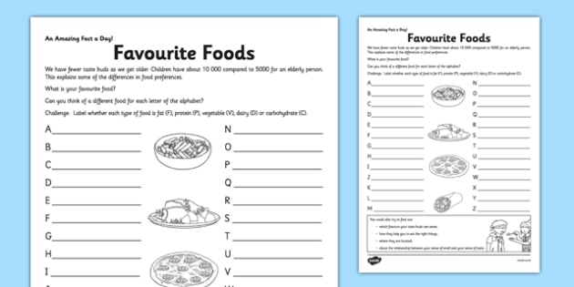 Favourite Foods Activity Sheet - food, favourite a-z, fact of the day, activity, worksheet
