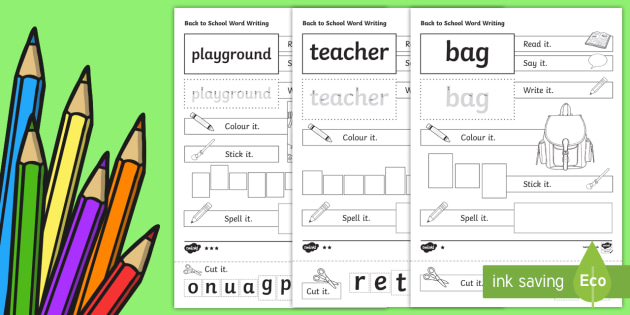 Back to School Word Writing Activity Sheets - Back to School, spelling worksheet, spelling activity sheet, word frames, word shapes, word blocks,