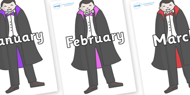 Months of the Year on Vampires - Months of the Year, Months poster, Months display, display, poster, frieze, Months, month, January, February, March, April, May, June, July, August, September
