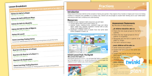 PlanIt Maths Y1 Fractions Overview
