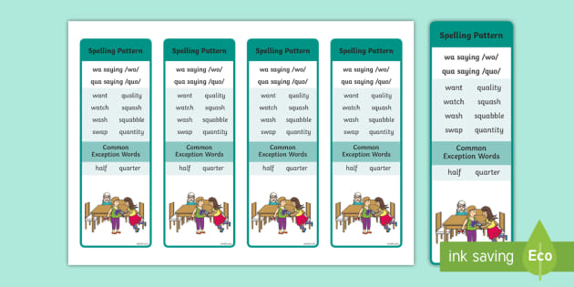 wa' saying /wo/ and 'qua' saying /quo/ Spelling Bookmarks
