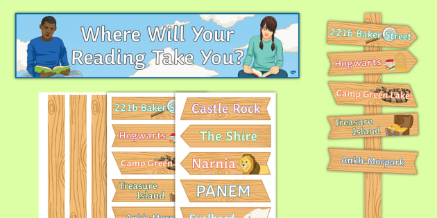 Where Will Your Reading Take You? Display Pack - ks3, ks4, books, fantasy, sherlock holmes, hunger games