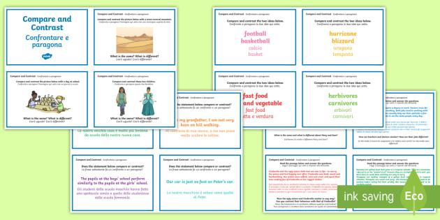 Guided Reading Skills Task Cards Compare and Contrast English/Italian