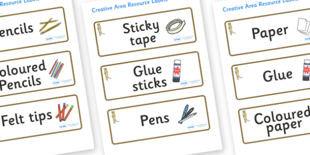 Meerkat Themed Editable Creative Area Resource Labels - Themed creative resource labels, Label template, Resource Label, Name Labels, Editable Labels, Drawer Labels, KS1 Labels, Foundation Labels, Foundation Stage Labels
