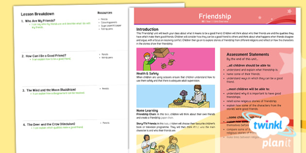 RE: Friendship Year 1 Planning Overview