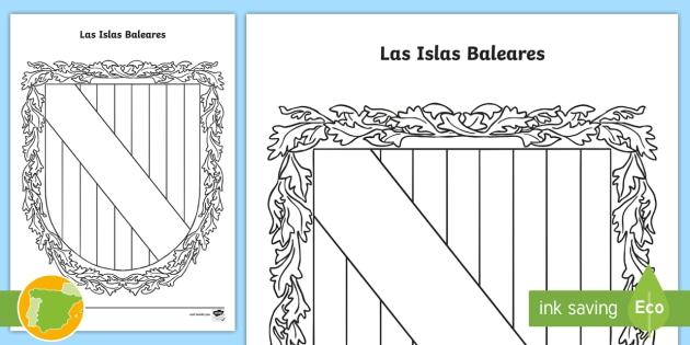 Hoja de colorear: El escudo de las Islas Baleares - Mapas