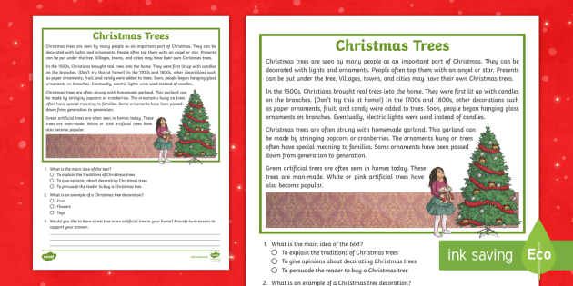 third grade christmas trees reading passage comprehension activity norway. Black Bedroom Furniture Sets. Home Design Ideas