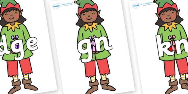 Silent Letters on Green Elf (Girl) - Silent Letters, silent letter, letter blend, consonant, consonants, digraph, trigraph, A-Z letters, literacy, alphabet, letters, alternative sounds