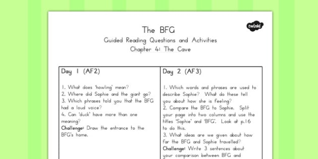 Guided Reading Questions Chapter 4 to Support Teaching on The BFG - australia, bfg, guided reading