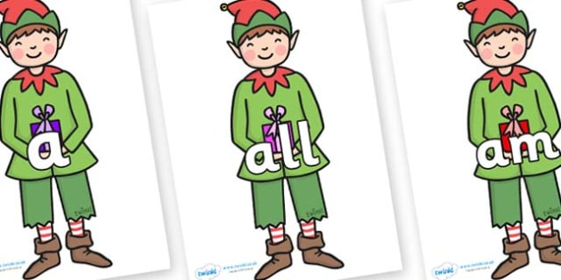 Foundation Stage 2 Keywords on Elf (Plain) - FS2, CLL, keywords, Communication language and literacy,  Display, Key words, high frequency words, foundation stage literacy, DfES Letters and Sounds, Letters and Sounds, spelling