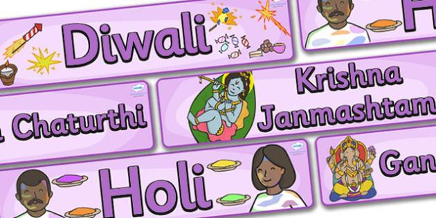 Hinduism Celebration Display Banner Pack - Banner, display, Diwali, religion, hindu, hanoman, rangoli, sita, ravana, pooja thali, rama, lakshmi, golden deer, diva lamp, sweets, new year, mendhi, fireworks, party, food