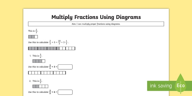 Year 5 Multiply Proper Fractions Using Diagrams Worksheet ...