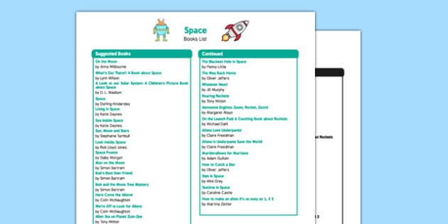 Space Book List - EYFS, book list, books, early years, space, planets, aliens, the moon, rockets, spaceships