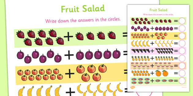 Fruit Salad Up to 20 Addition Sheet - olivers fruit salad, fruit salad, 20, addition, sheet, add
