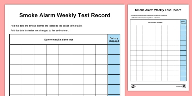 Childminder smoke alarm weekly test record fire safety fire for Fire alarm log book template