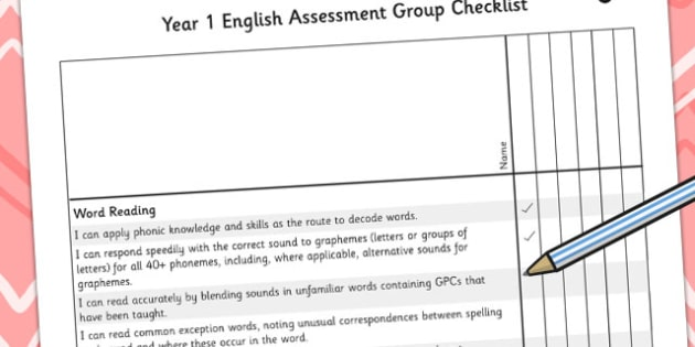 2014 Curriculum Year 1 English Assessment Group Checklist - KS1
