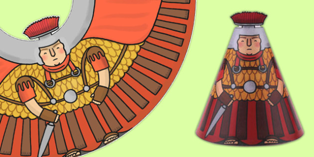 Roman Soldier Cone Character - romans, history, paper crafts