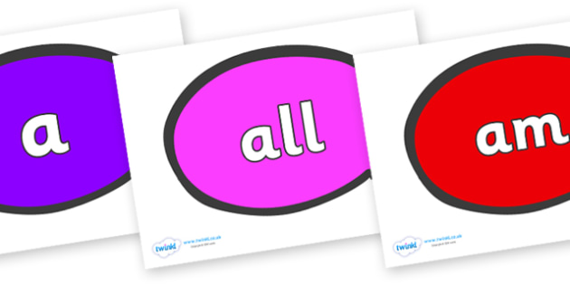 Foundation Stage 2 Keywords on Speech Bubble - FS2, CLL, keywords, Communication language and literacy,  Display, Key words, high frequency words, foundation stage literacy, DfES Letters and Sounds, Letters and Sounds, spelling